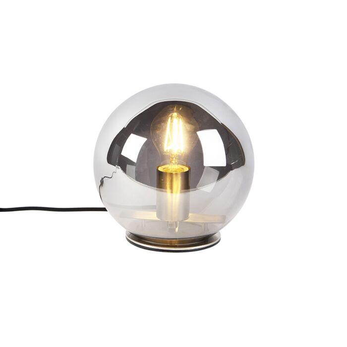 Lampe-de-table-Art-Déco-acier-avec-verre-fumé-20-cm---Pallot