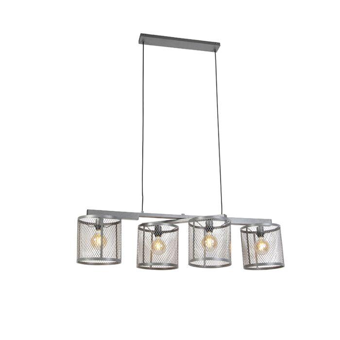 Lampe-à-suspension-industrielle-argent-antique-4-lumières---Cage-Robusto
